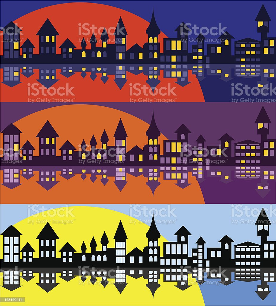 Panorama of the old city. Set royalty-free stock vector art