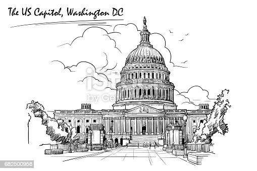 Front view of the US Capitol Building. Cityscape, urban hand drawing. Sketch isolated on white background. EPS10 vector illustration.