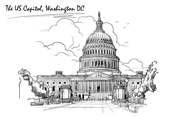 ilustrações, clipart, desenhos animados e ícones de panorama do capitólio dos e.u. esboço isolado no fundo branco. ilustração do vetor eps10. - capitel
