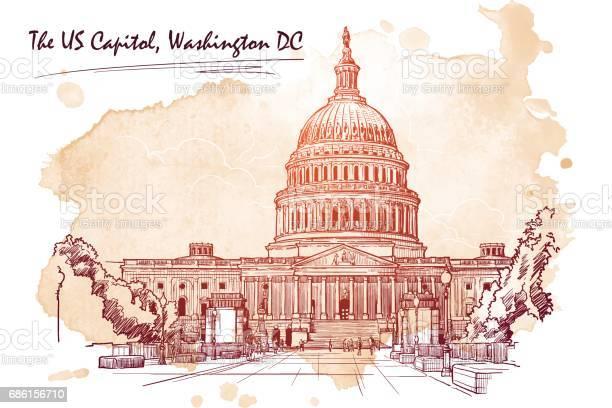 Panorama of the us capitol sketch isolated on white background eps10 vector id686156710?b=1&k=6&m=686156710&s=612x612&h= vzhcelgk1ywdfuxbndbqgrl55 yat m cktazqeysg=