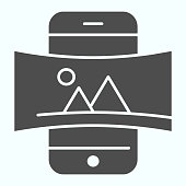 Panorama solid icon. Picture panorama in smartphone vector illustration isolated on white. Nature panorama photo with picture glyph style design, designed for web and app. Eps 10