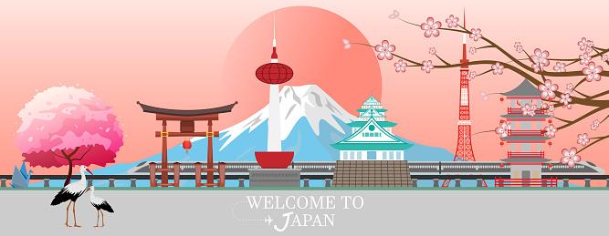 Panorama travel postcard, tour advertising of of Japan. Vector illustration.