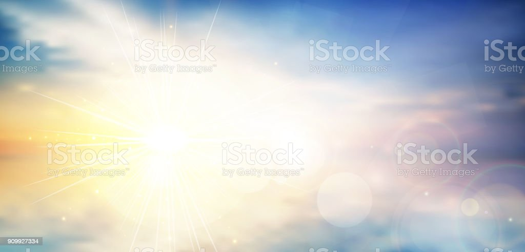 panorama twilight blurred gradient abstract background. colorful sea and sky with sunlight rays backdrop. vector illustration for your graphic design, banner or poster vector art illustration