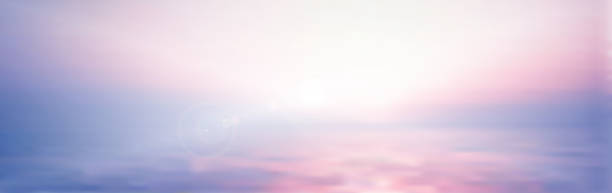 panorama twilight blurred gradient abstract background. colorful sea and sky with sunlight rays backdrop. - dusk stock illustrations