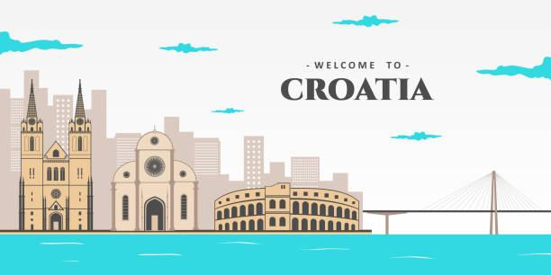 панорамный вид на городской пейзаж хорватии. отличный вид на знаменитый европейский туристический город дубровник. концепция летних каник - unesco stock illustrations