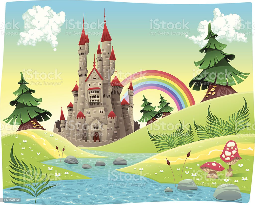 Panorama with castle. vector art illustration