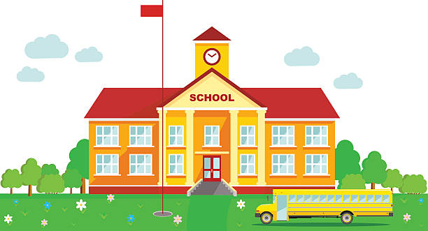 Panoramic background with school building and school bus in flat style Classical school building and school bus isolated on white background schoolhouse stock illustrations