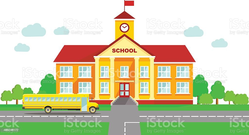 Panoramic background with school building and school bus in flat style Classical school building and school bus isolated on white background 2015 stock vector