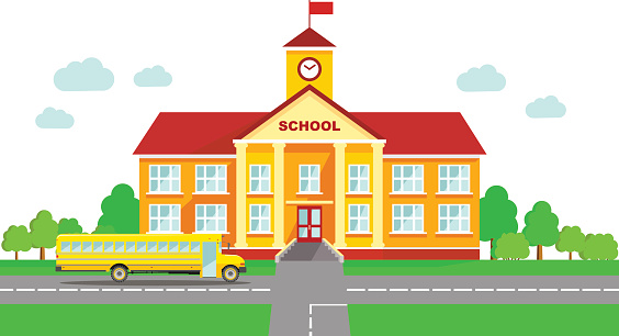 Panoramic Background With School Building And School Bus In Flat Style Stock Illustration - Download Image Now