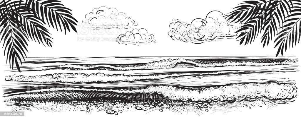 Panoramic beach view. Vector illustration of ocean or sea waves. Hand drawn. vector art illustration