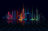panoramic view of the night city in colored lights. Retro wave style. 10 eps.