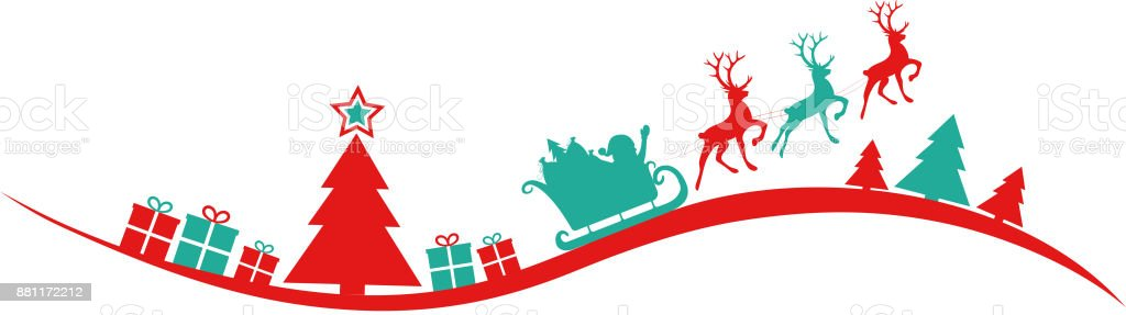 Panoramic Christmas Banner With Silhouette Of Christmas