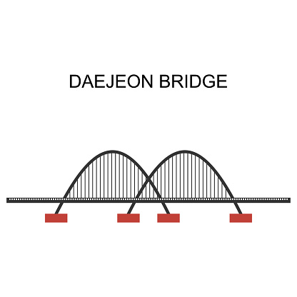 Panoramic cityscape view of Daejon Bridge in the central region of South Korea. Daejeon serves as a hub of transportation and is at the crossroads of major transport routes. Vector illustration