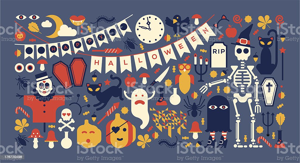 Panoramic composition with halloween silhouettes royalty-free stock vector art