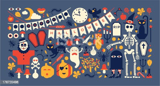 Panoramic composition with halloween silhouettes.  ZIP includes large JPG (CMYK) PNG with transparent background.