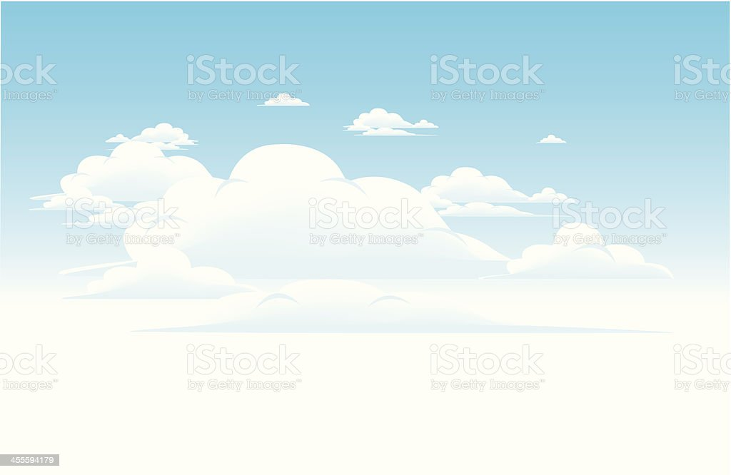 Panoramic drawing of a blue cloudy sky frontal view royalty-free stock vector art