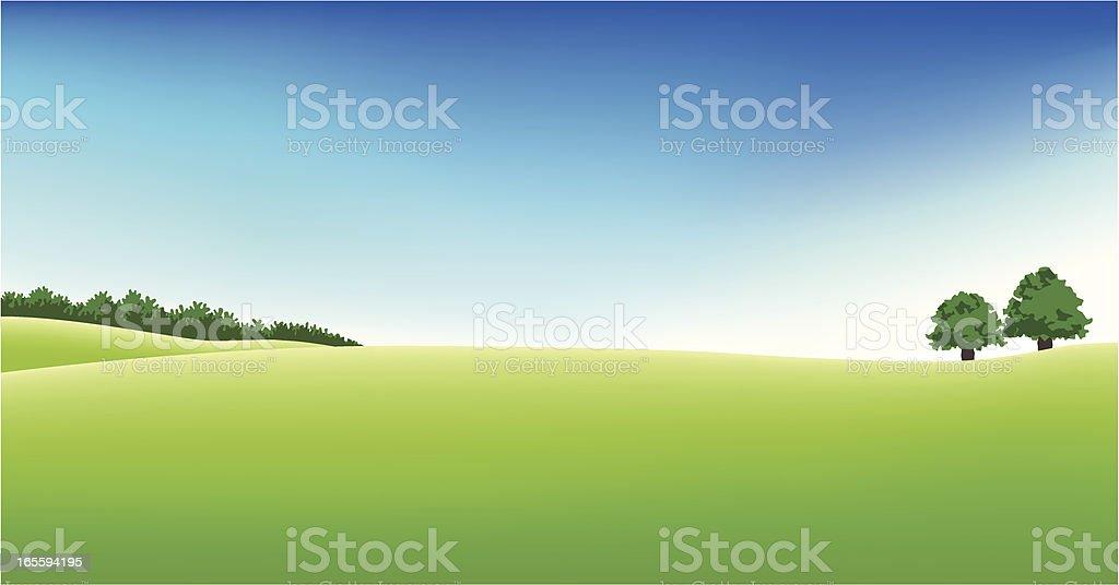 Panoramic golf field scenery vector art illustration