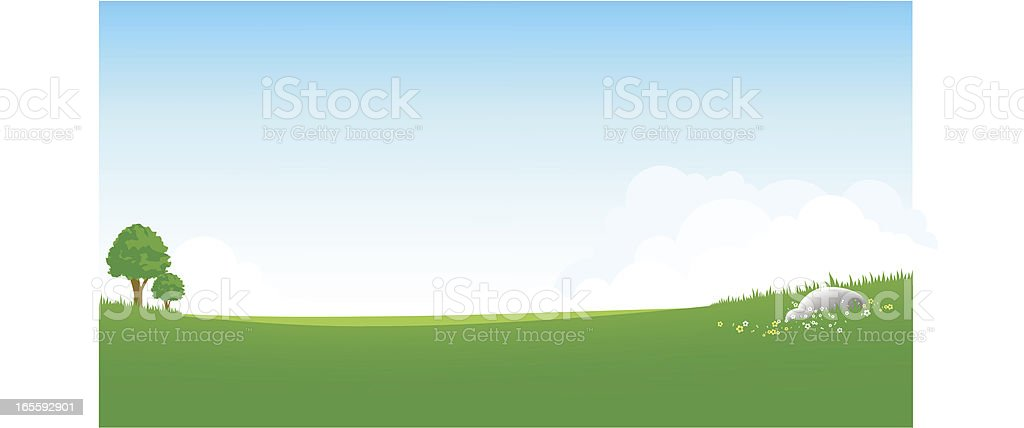 panoramic green field royalty-free stock vector art