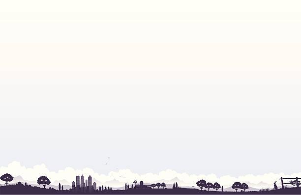 Panoramic landscape vector art illustration