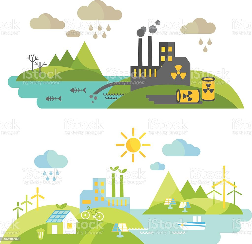 Panoramic landscape with ecology concept and concept pollution vector art illustration