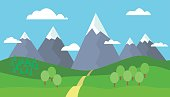 Panoramic Mountain landscape with blue sky, white clouds, trees, snow on the peaks, hills and through the mountains - vector illustration