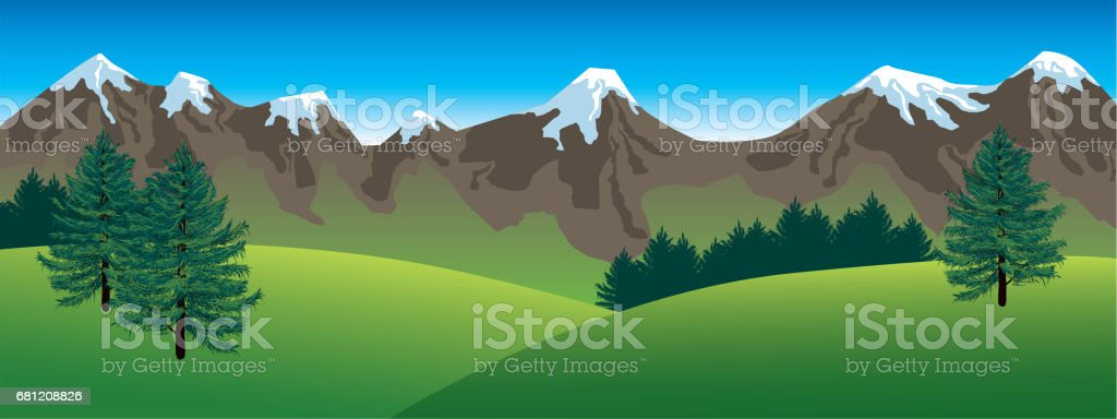 Panoramic mountains landscape royalty-free panoramic mountains landscape stock vector art & more images of backdrop
