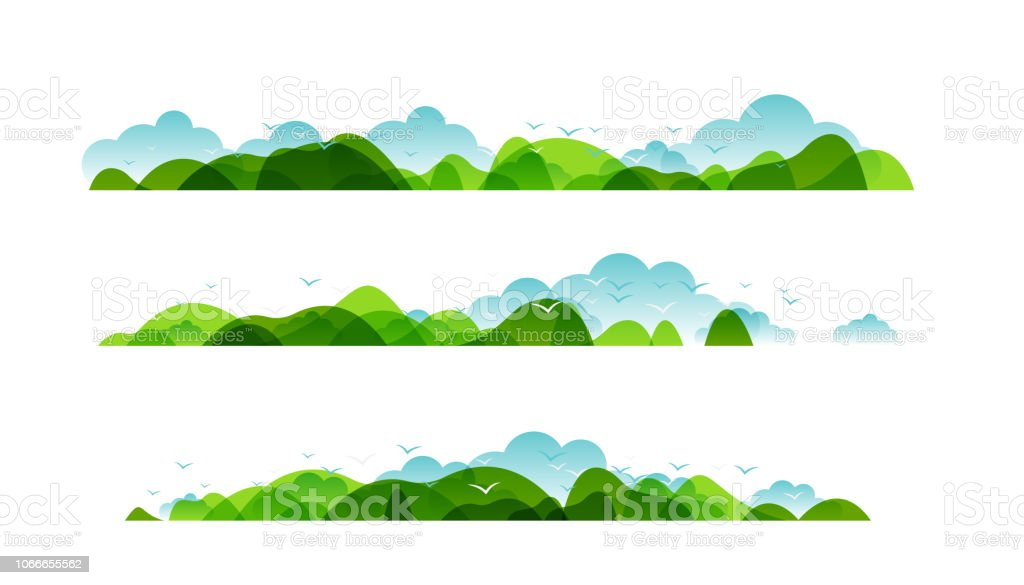 Panoramic of countryside landscapes collection, Horizontal borders of summer or spring landscape with clouds, mountains, hills and flying birds. panoramic of countryside landscapes collection horizontal borders of summer or spring landscape with clouds mountains hills and flying birds - immagini vettoriali stock e altre immagini di albero royalty-free