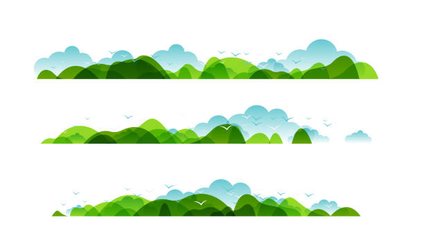 panoramic of countryside landscapes collection, horizontal borders of summer or spring landscape with clouds, mountains, hills and flying birds. - панорамный stock illustrations