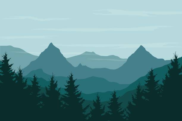 Panoramic vector illustration of a mountain landscape with a forest under the sky with clouds and space for text vector art illustration