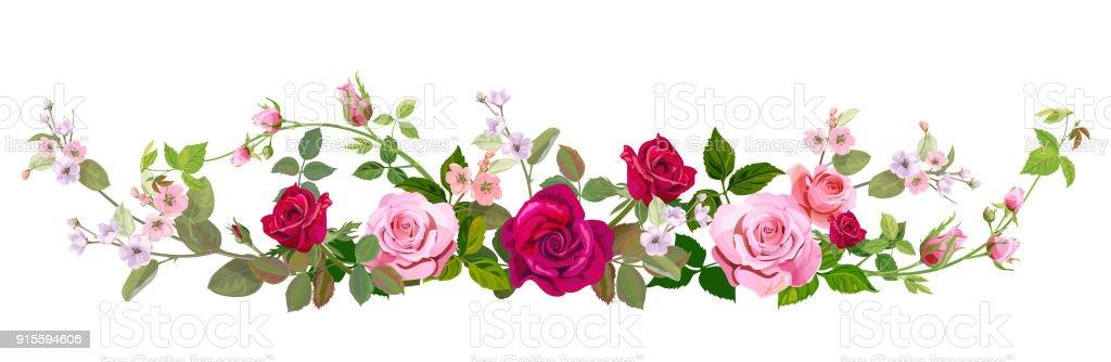Ilustración de Vista Panorámica Ramo De Rosas Flor De Primavera ...