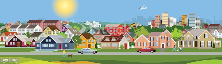istock Panoramic view of a city 483137023