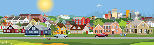 Panoramic view of a city A busy town with playing kids and huge amount of houses in all sizes and shapes. residential district stock illustrations