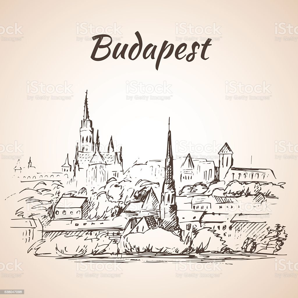 Panoramic view of Budapest - Hungary vector art illustration