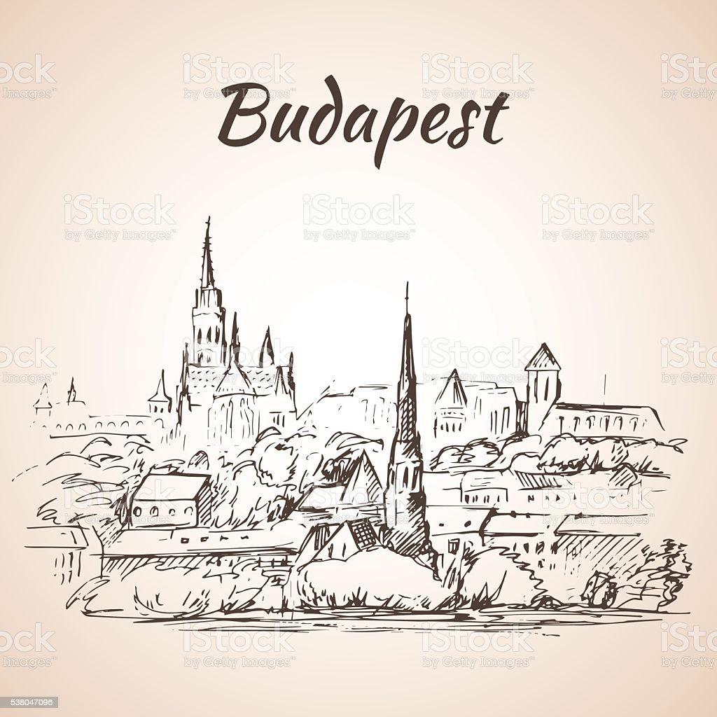 Panoramablick auf Budapest-Ungarn – Vektorgrafik