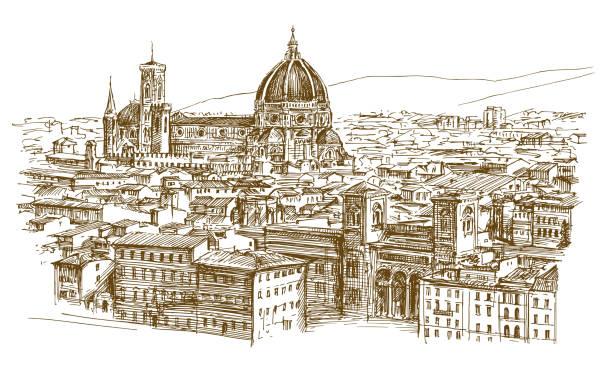 illustrazioni stock, clip art, cartoni animati e icone di tendenza di panoramic view of florence, italy - firenze