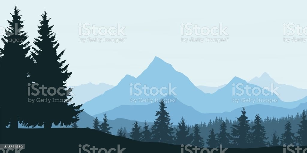 Panoramic view of mountain landscape with forest and hill under blue sky with clouds - vector illustration