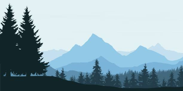 panoramic view of mountain landscape with forest and hill under blue sky with clouds - vector illustration - панорамный stock illustrations