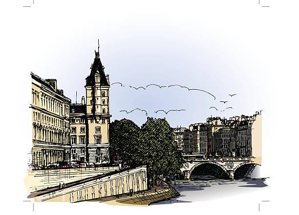 panoramic view of  river SEINE Pont Neuf  bridge France, Paris: panoramic view of  river Seine Pont Neuf  bridge (hand drawing) seine river stock illustrations