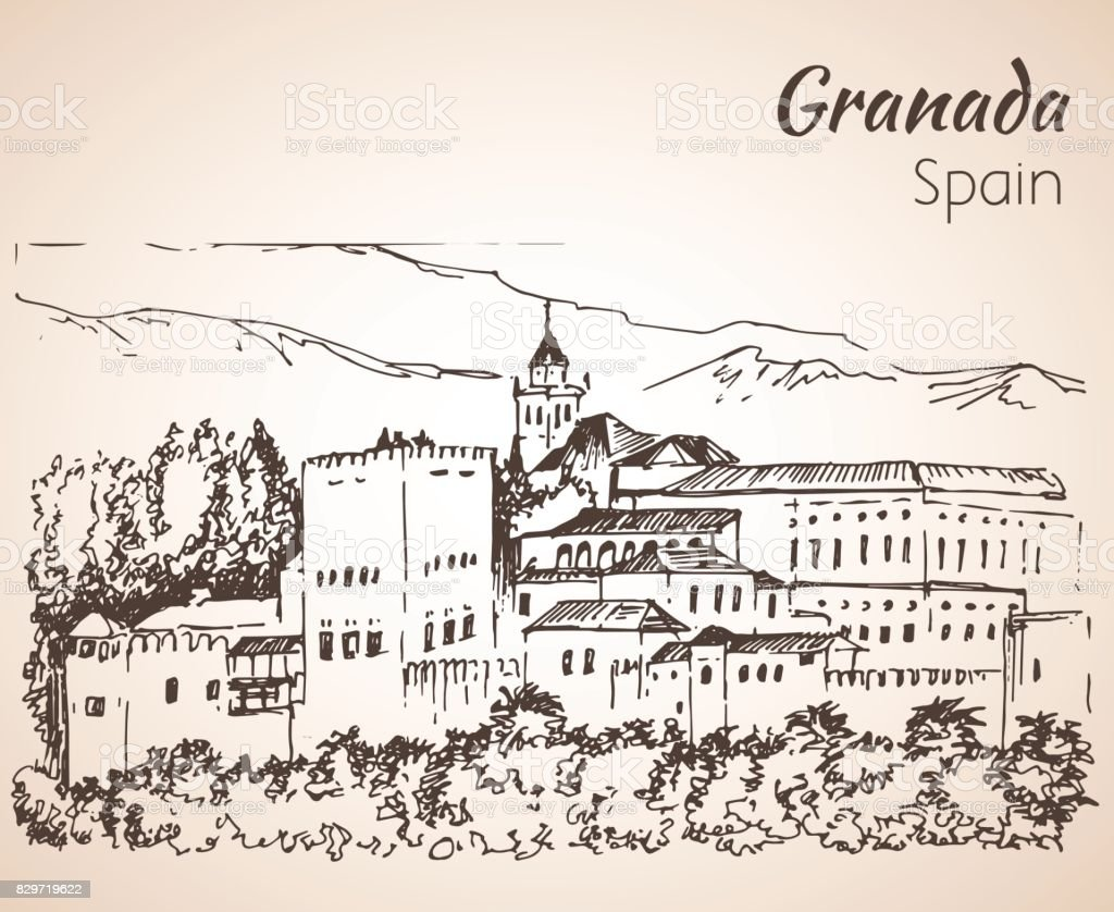 Panoramic view of the Alhambra with Sierra Nevada in the background. vector art illustration