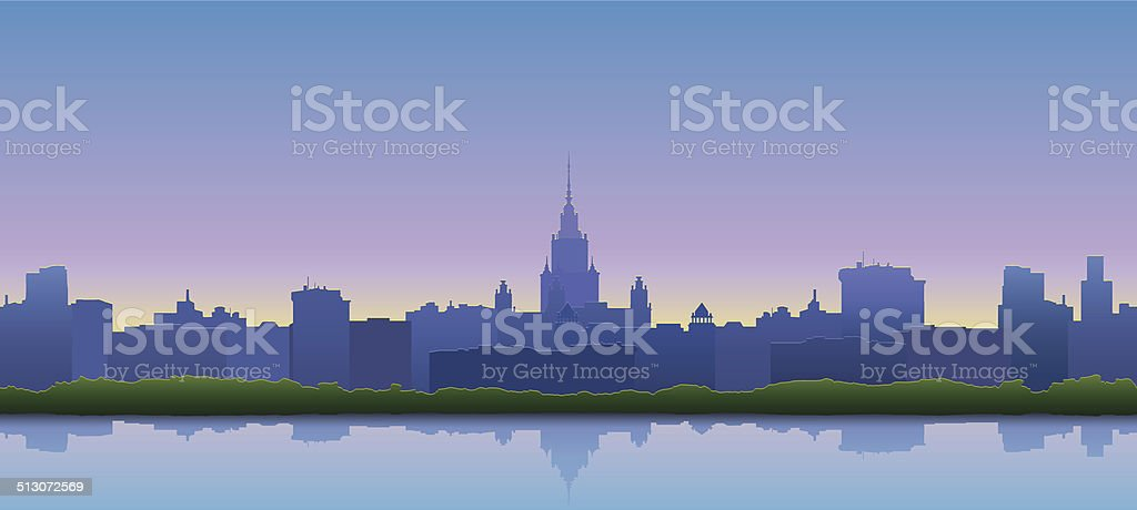 Panoramic view of the city vector art illustration