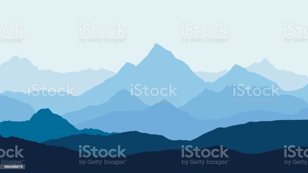 panoramic view of the mountain landscape with fog in the valley below with the alpenglow blue sky and rising sun - vector vector art illustration