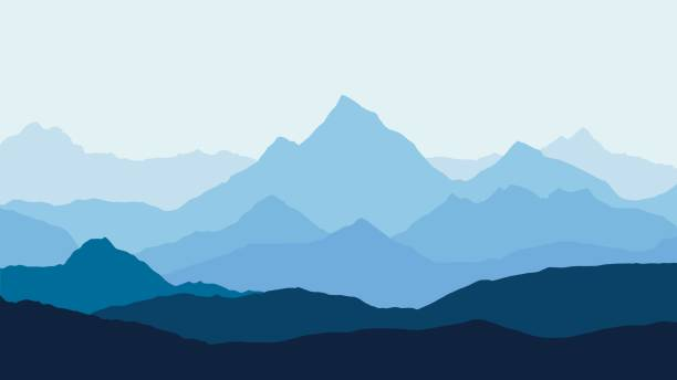 panoramic view of the mountain landscape with fog in the valley below with the alpenglow blue sky and rising sun - vector - abstract silhouettes stock illustrations