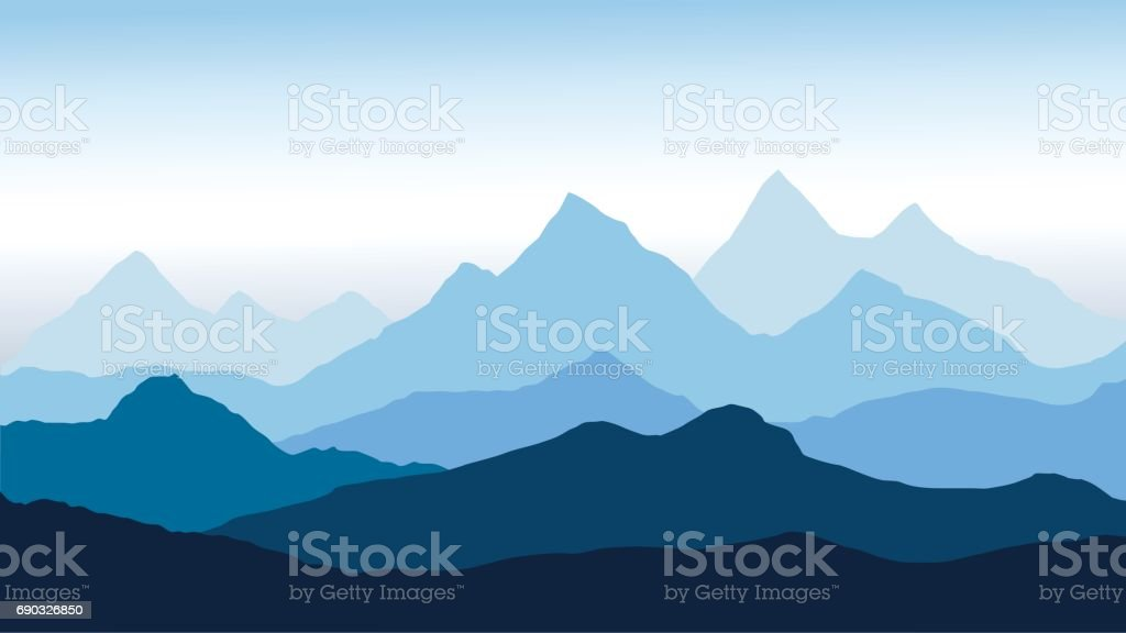 panoramic view of the mountain landscape with fog in the valley below with the alpen glow blue sky - vector vector art illustration
