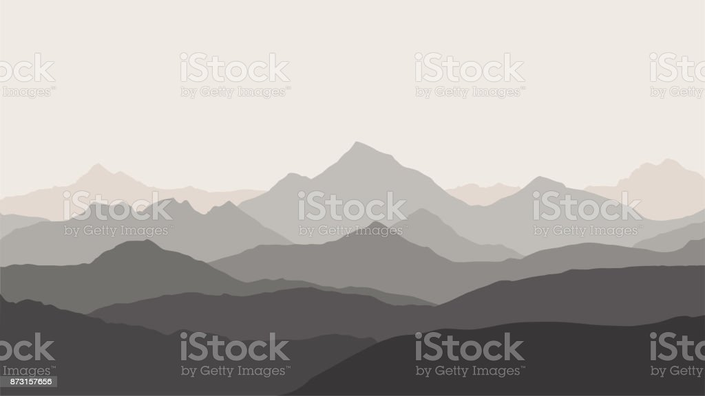 panoramic view of the mountain landscape with fog in the valley below with the alpenglow blue-grey sky and rising sun - vector vector art illustration