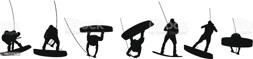 Panoramic view of wake boarding men royalty-free stock vector art