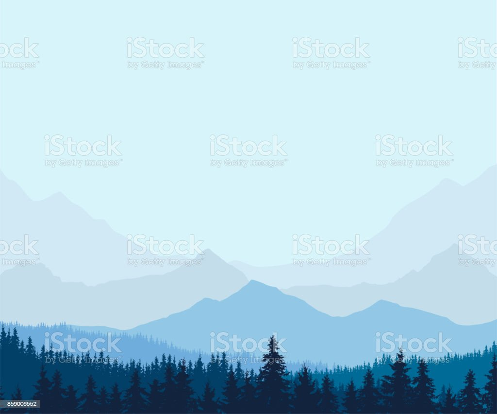 Panoramic view of winter mountain landscape with forest and with space for text, vector illustration vector art illustration
