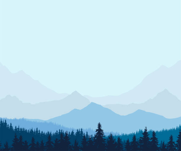 panoramic view of winter mountain landscape with forest and with space for text, vector illustration - backgrounds silhouettes stock illustrations