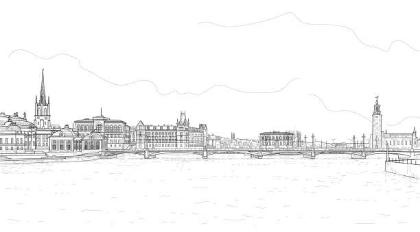 bildbanksillustrationer, clip art samt tecknat material och ikoner med panorava stockholm - stockholm