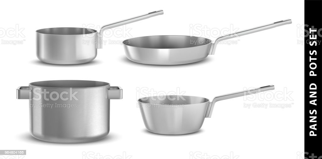 Pans and pots realistic set with frying pan saucepan and bowl isolated vector illustration royalty-free pans and pots realistic set with frying pan saucepan and bowl isolated vector illustration stock vector art & more images of aluminum