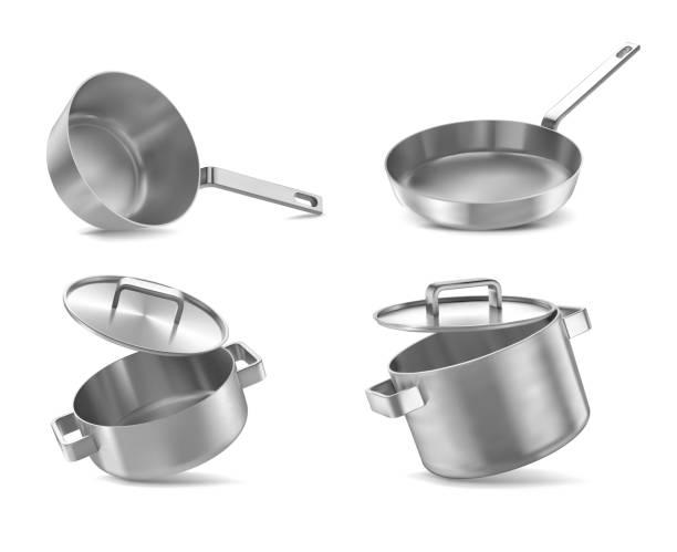 鍋と鍋の現実的なフライパン鍋セット分離ベクトル図をボウル - 鍋点のイラスト素材/クリップアート素材/マンガ素材/アイコン素材
